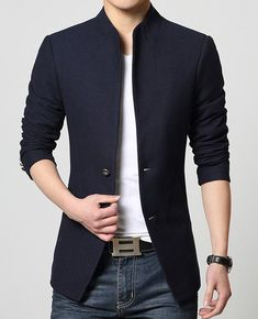 Simple Slimming Stand Collar Back Slit Solid Color Long Sleeves Jacket For Men