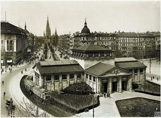 Wittenbergplatz from 1927. Kaiser Wilhelm Memorial Church in the background.  Berlin, Germany