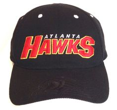 NEW vtg NBA-Store ATLANTA HAWKS HAT Black Red Yellow ATL Curved-Bill Mens/Womens #NBA #AtlantaHawks