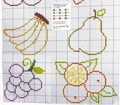 Schemi a punto croce semplici par la cucina-frutta