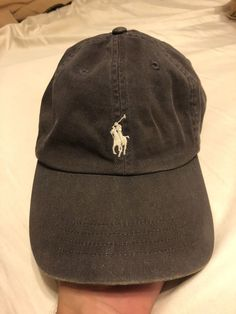 ad714bf44ee Polo Ralph Lauren Hat Leather Strap Gray W white Horse  fashion  clothing
