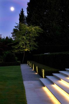 3 Steps To Create Modern Garden Lighting DIY Perfectly - TheGardenGranny Driveway Lighting, Stair Lighting, Exterior Lighting, Pathway Lighting, Garden Lighting Diy, Backyard Lighting, Outdoor Lighting, Modern Landscape Lighting, Landscape Design