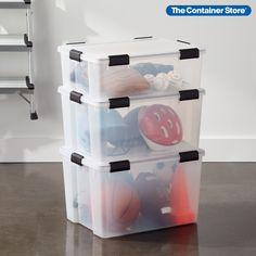 Protect your belongings from moisture, dirt and fabric-damaging pests with our Weathertight Totes. They're ideal for large storage needs around the home, as well as for camping or boating. Super-strong latches secure the lid to the base, providing an air- and watertight seal. Made from ultra-clear polypropylene, they have built-in handles and are easily stackable. Tote Organization, Tote Storage, Craft Storage, Record Storage Box, Plastic Bins, Office Items, Container Store, Me Clean, Mold And Mildew