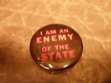 Authentic 60's Hippie Protest Buttons - Pinback -  I Am An Enemy Of The State