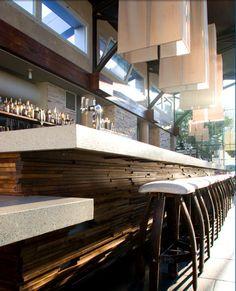The bar at B Restaurant and Bar, San Francisco - Great ADA bar and love the wood detail