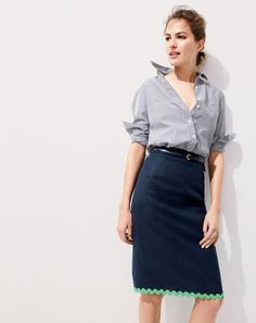 J.Crew women's everyday shirt in striped poplin, scalloped pencil skirt in linen and skinny belt.