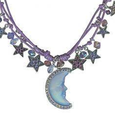 Seaview Moon Shadow Galaxy Cord Necklace (Antique Silvertone/Purple)
