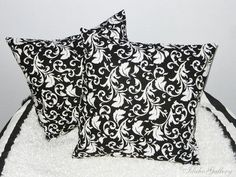 "Black and White Scroll Damask Pillow Covers, 18"" x 18"""