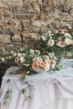 Wedding Flowers   Tablescape   Romantic Blush Wedding Inspiration by The Wedding Stylist at Notley Abbey with Joanna Truby Flowers   Emma Pilkington Photography   Opaline Films