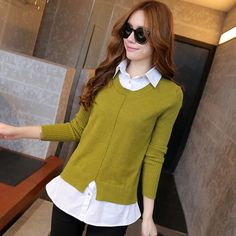 Cheap fashion 1979, Buy Quality pullover turtleneck directly from China pullover warm Suppliers:   commodity:Sweaters 2015 women fashion spring new arrive turn down collar full sleeve patchwork clothing fake two-piece