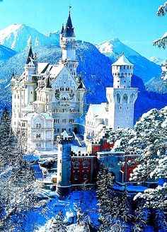 Neuschwanstein Castle in Bavaria, Germany. The Disney castle was modeled after this one.  It's so beautiful there.. I've been many times!