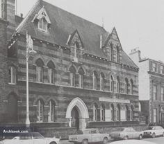 Architect: Deane & Woodward Designed by architects Deane and Woodward, Molesworth Hall was a freestanding building built of Portland, Calp, and Caen stone, with red brick. The building had hori… Old Pictures, Old Photos, Gone Days, Dublin Street, Drinking Fountain, Make Way, Red Bricks, Art History, 19th Century