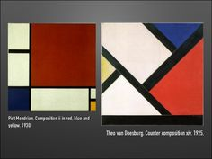 Comparison between Mondrian and van Doesburg Theo Van Doesburg, Mondrian, Art History, Illustrators, Creative, Wall, Design, Illustrator
