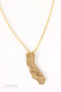 DIY Gold Leaf State Necklace