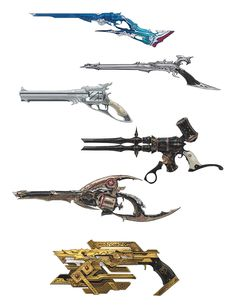 View an image titled 'Machinist Guns Art' in our Final Fantasy XIV: Heavensward art gallery featuring official character designs, concept art, and promo pictures.