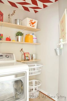 Whats Ur Home Story Laundry-room-with-red-accents