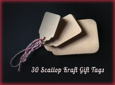 Handmade Kraft Scallop Gift Tags With Stamped Front - Embellish Packaging - Product Labels - Raffia Pre-Strung Set of 10 #scalloptags #kraft_tags #hangtags #gift_Tags #foothillcrafters #etsy #crafts #diecuts