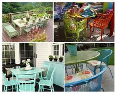 Outdoor Inspiration - paint old outdoor pieces bright colors to give them a new look