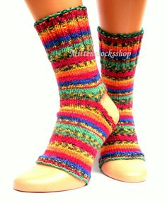 Yoga socks Hand knitted yoga socks Colorful by mittenssocksshop
