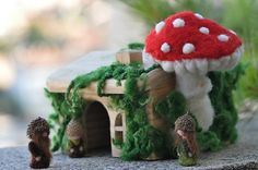 Needle Felted Waldorf Forest Acorn family and Little Wood