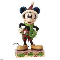 4051966 Merry Mickey Mouse- Mickey Mouse stands ready for holiday fun in this charming personality pose from the artistry of Jim Shore #Mickey #Disney #Christmas