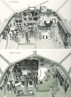 "De Havilland Mosquito cockpit. The piilot and navigator/radar op. sat side by side, pilot's controls on the left and radar display on the right, as shown in the upper photo. The lower picture looks like the bomber variant - the ""clear view"" panel can just be seen."