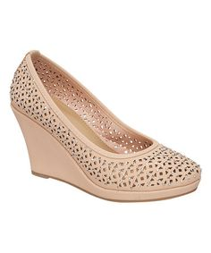 Another great find on #zulily! Blush Rhinestone Wedge by TOP MODA #zulilyfinds