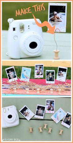 DIY Mini Spool Picture Holder - create easy displays for precious photos