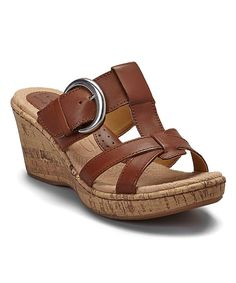 Look at this Saddle Kinsella Leather Wedge Sandal on #zulily today!