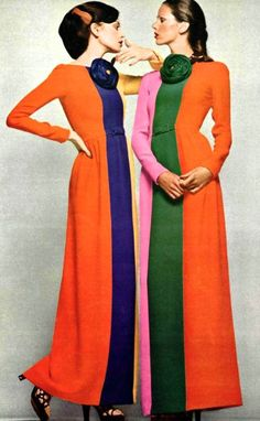 superseventies: Models wearing tri-colour robes by Lanvin, 1972