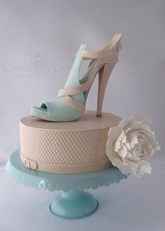 'sand and aqua stiletto shoe' Cake Master Magazine ~issue 21~ June 2014 Cake Heart