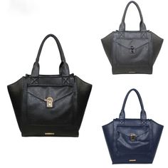 RAMPAGE Bags Ladies Satchel Fold Over Flap Pocket Metal Turnlock Accent RP3254
