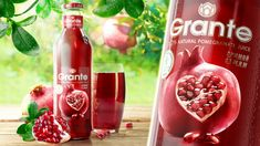 Restyling package design of the juice Grante. Developing creative concepts and promotional campaigns package design of the. Juice Packaging, Beverage Packaging, Bottle Packaging, Creative Poster Design, Creative Posters, Food Packaging Design, Packaging Design Inspiration, Smoothie Mix, Drink Labels
