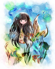Mermaid art print 8x10 inch fantasy art girl's room by awispycloud