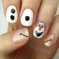 Olaf the snowman nails from Disney's Frozen. Snow Man nailart.