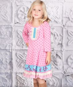 Take a look at this Pink Polka Dot Ruffle Lucy Dress - Toddler & Girls on zulily today!