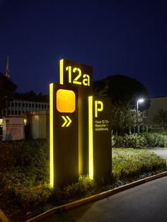 Illuminated parking lot signage can be a work of art.