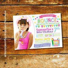 Trampoline Birthday Party invitation jump invite pink girl photo invite bounce house digital printable invitation 14075 by myooakboutique on Etsy