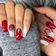 Christmas gel nails, christmas nail art designs, winter nails, red summer n Christmas Gel Nails, Christmas Nail Art Designs, Holiday Nails, Diy Xmas Nails, Holiday Acrylic Nails, Red Nail Designs, Winter Nail Designs, Unique Nail Designs, Nagel Gel