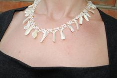 Mother of pearl necklace. White wedding bijou. Bridal by NioNia