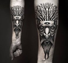 beard tattoo by Kamil Czapiga beards bearded man men trees nature tattoos tattooed forest