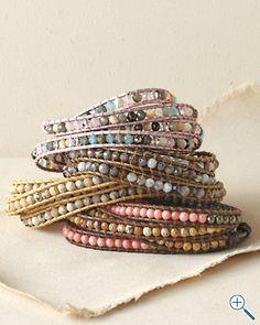 """beaded bracelet idea from """"garnet hill""""  http://www.garnethill.com/chan-luu-mixed-wrap-bracelet/womens-fashion/jewelry/bracelets/121792"""