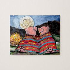 Pigs in a Blanket Romantic Night Moon Stars Art Jigsaw Puzzle camping gifts for kids, woodburned gifts, crazy gifts Weird Gifts, Crazy Gifts, Pigs In A Blanket, Romantic Night, Star Art, Funny Romance, Stars And Moon, Camping Gifts, Dog Design