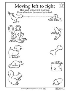 In this early writing worksheet, your child will draw straight lines across the page to connect each animal to its dinner.