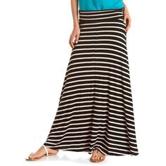 Striped Ruched Waist Maxi Skirt ($20) ❤ liked on Polyvore