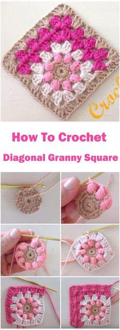 Crochet Mitered Puff Square Free Pattern- <a href=\