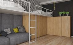 mieszkanie w Knurowie 2 Trendy Bedroom, Girls Bedroom, Chambre Nolan, Teenage Room, Sleeping Loft, Teen Room Decor, Kids Room Design, Dream Rooms, Kid Beds