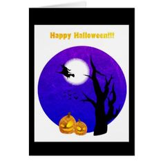 Happy Halloween Witch Flying by Full Moon Card - Halloween happyhalloween festival party holiday