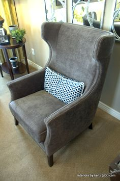 Tall Grey Wingback Chair