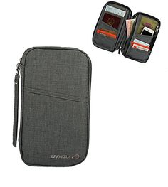 BEYLLEY Travel Wallet  Passport Holder for Men  Securely Holds Business Cards Credit Cards Boarding Passes  Notes  Gray -- Read more  at the image link. (Note:Amazon affiliate link)
